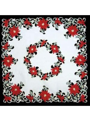 Cutwork Poinsettia Table Topper 36'' Square